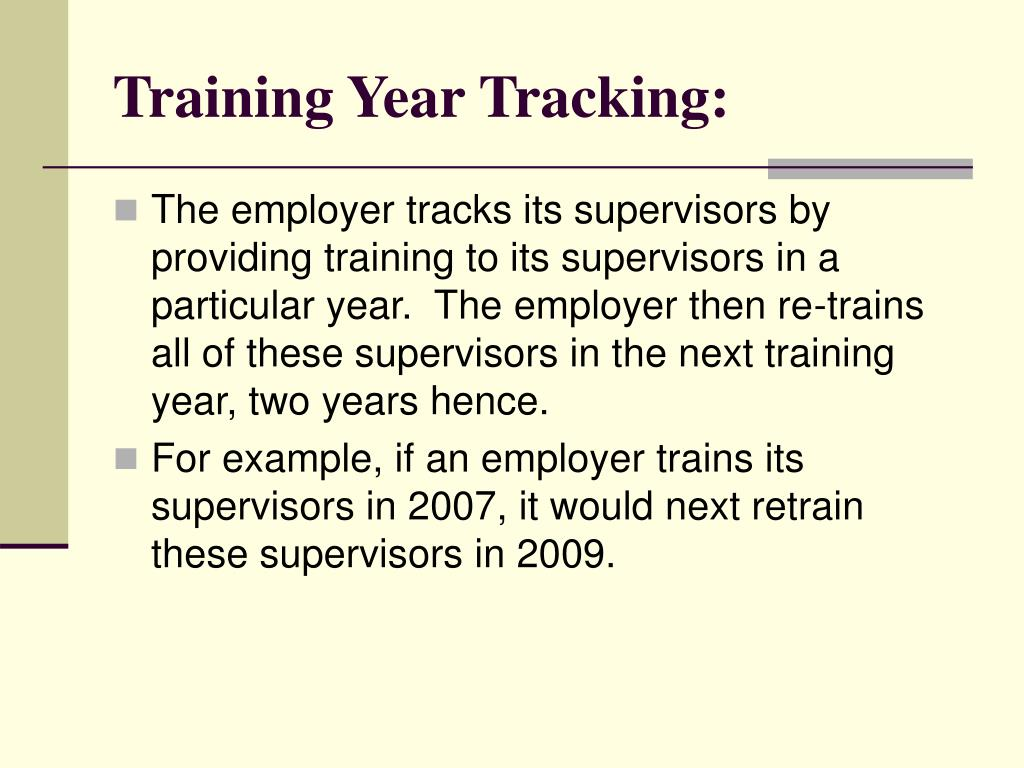 Training Year Tracking:
