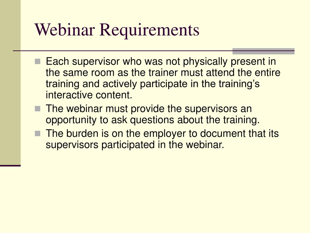 Webinar Requirements