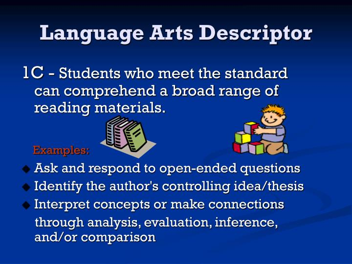Language arts descriptor