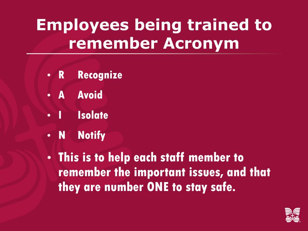 Employees being trained to remember Acronym