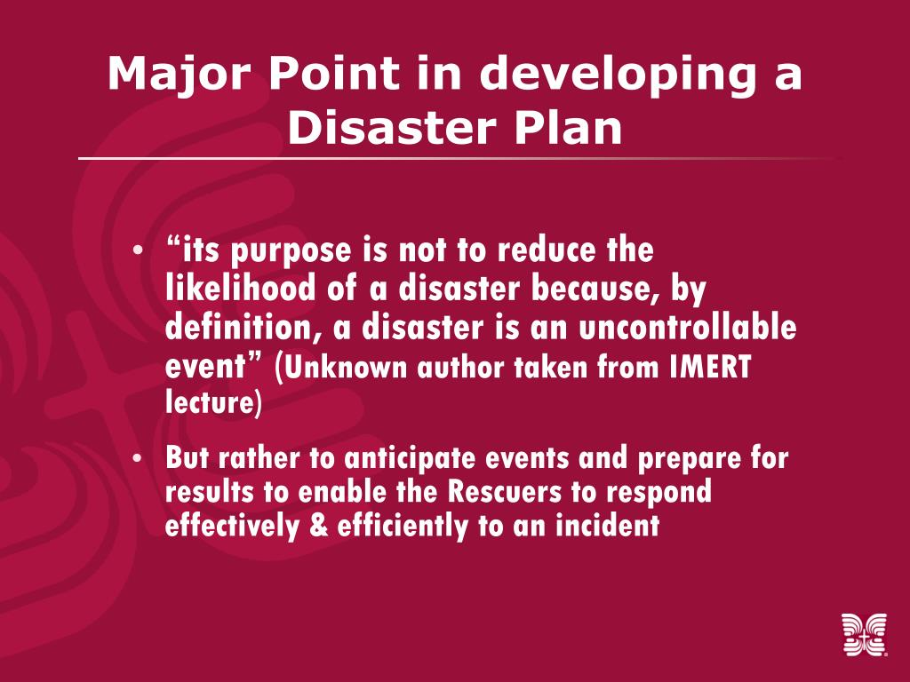 Major Point in developing a Disaster Plan