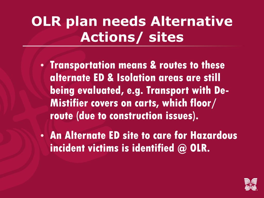 OLR plan needs Alternative Actions/ sites