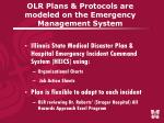 olr plans protocols are modeled on the emergency management system