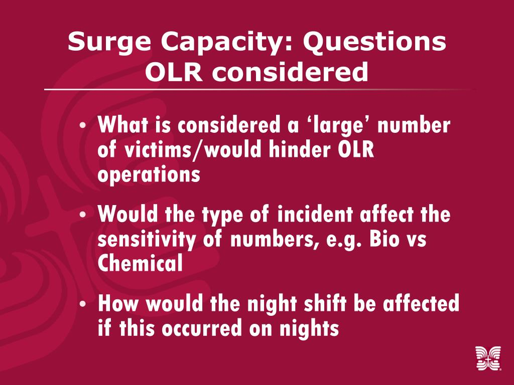 Surge Capacity: Questions OLR considered