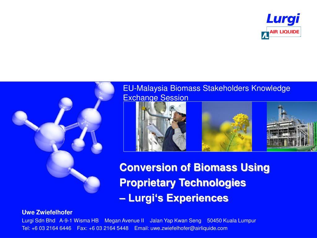 EU-Malaysia Biomass Stakeholders Knowledge Exchange Session