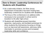 dare to dream leadership conferences for students with disabilities