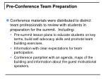 pre conference team preparation