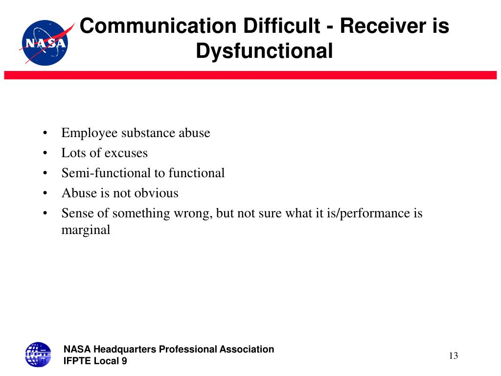 Communication Difficult - Receiver is Dysfunctional