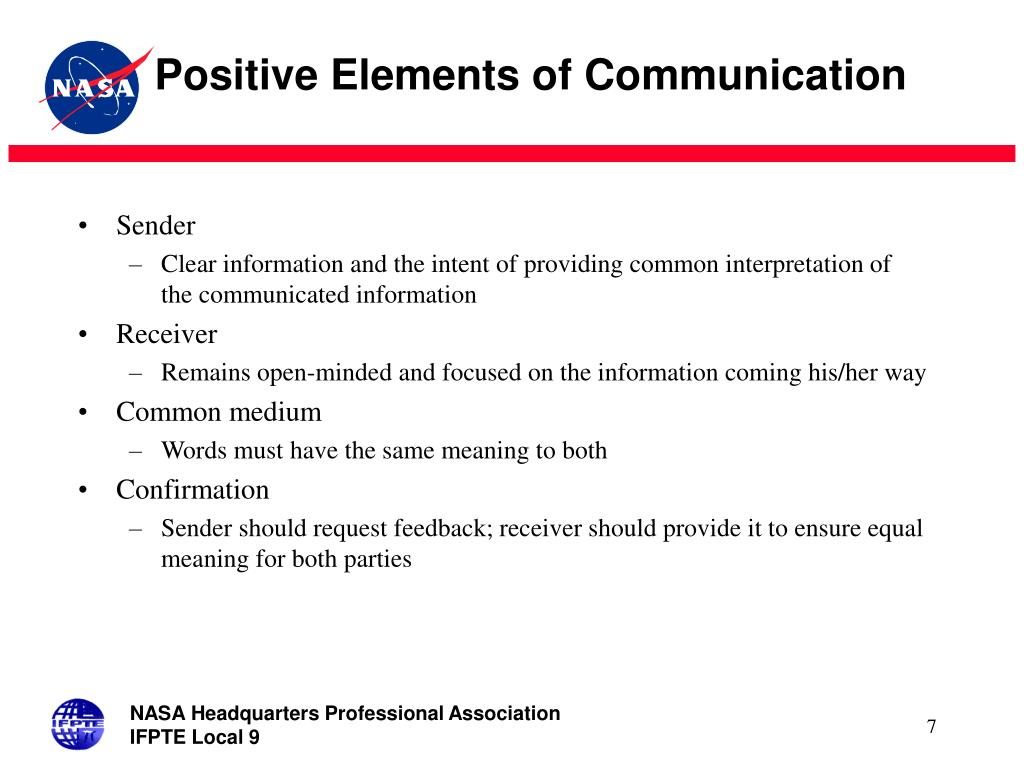 Positive Elements of Communication