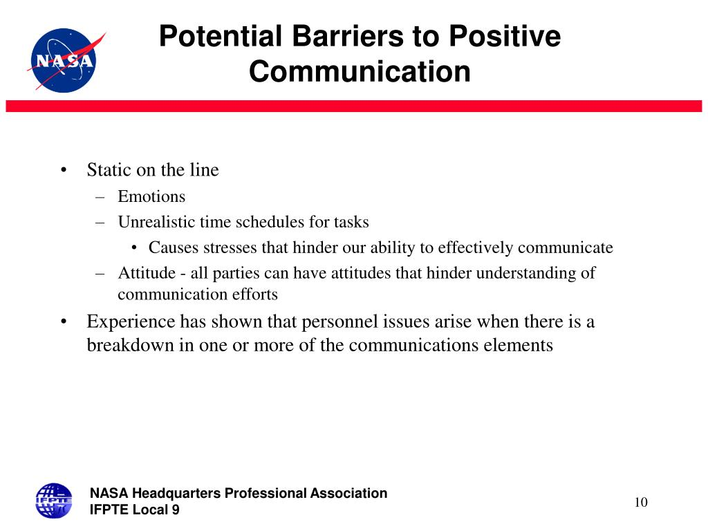 Potential Barriers to Positive Communication