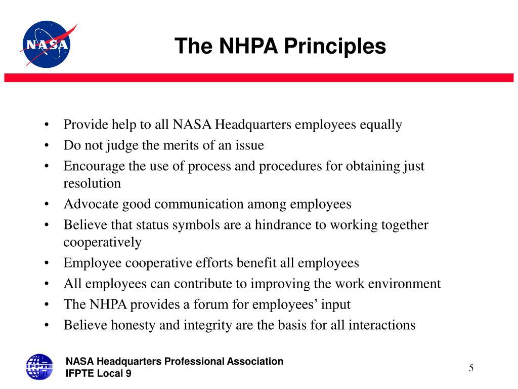 The NHPA Principles