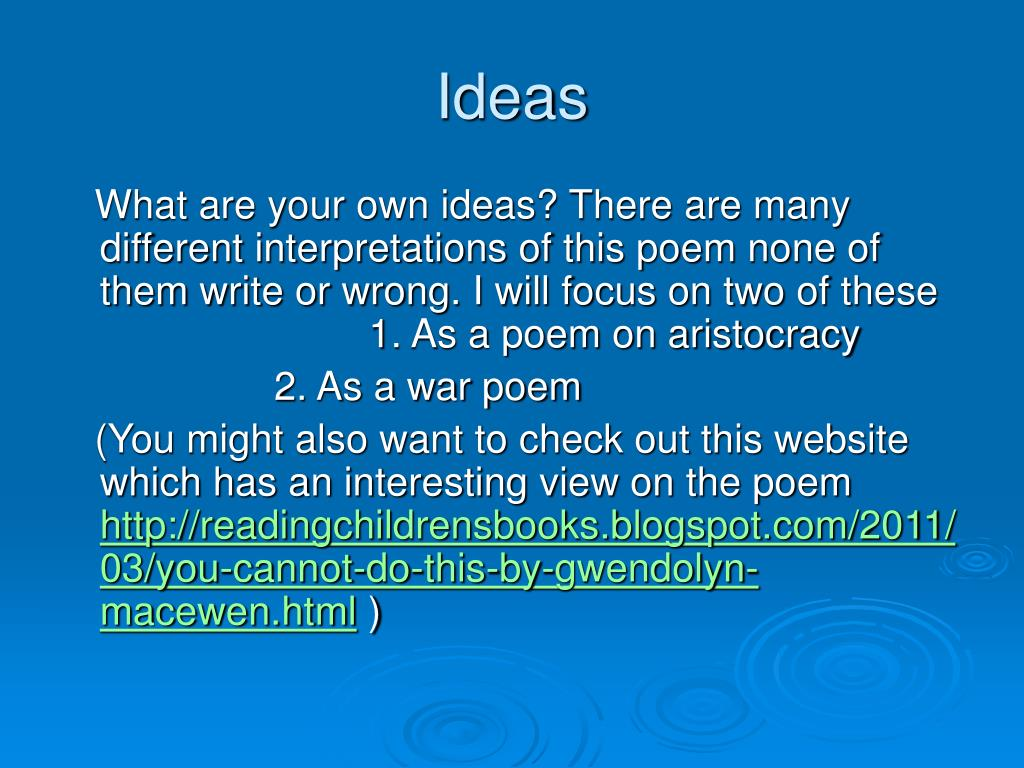 poem you cannot do this by gwendolyn macewen Gwendolyn macewen and female spiritual desire gwendolyn macewen writes that her poetic interest is in the poetry and prose of gwendolyn mace.