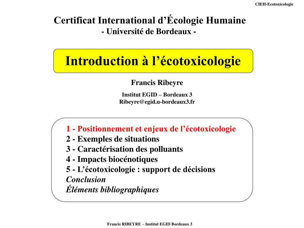 CIEH-Ecotoxicologie