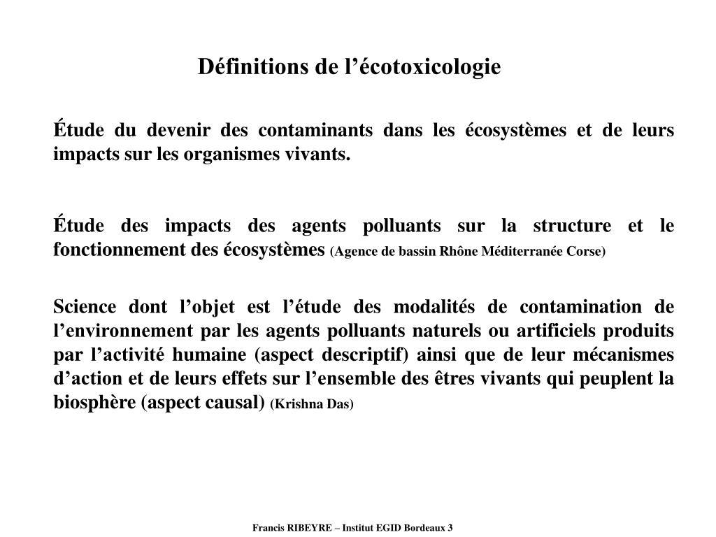 Définitions de l'écotoxicologie