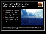 safety zone comparisons burned out meadows