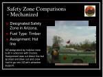 safety zone comparisons mechanized