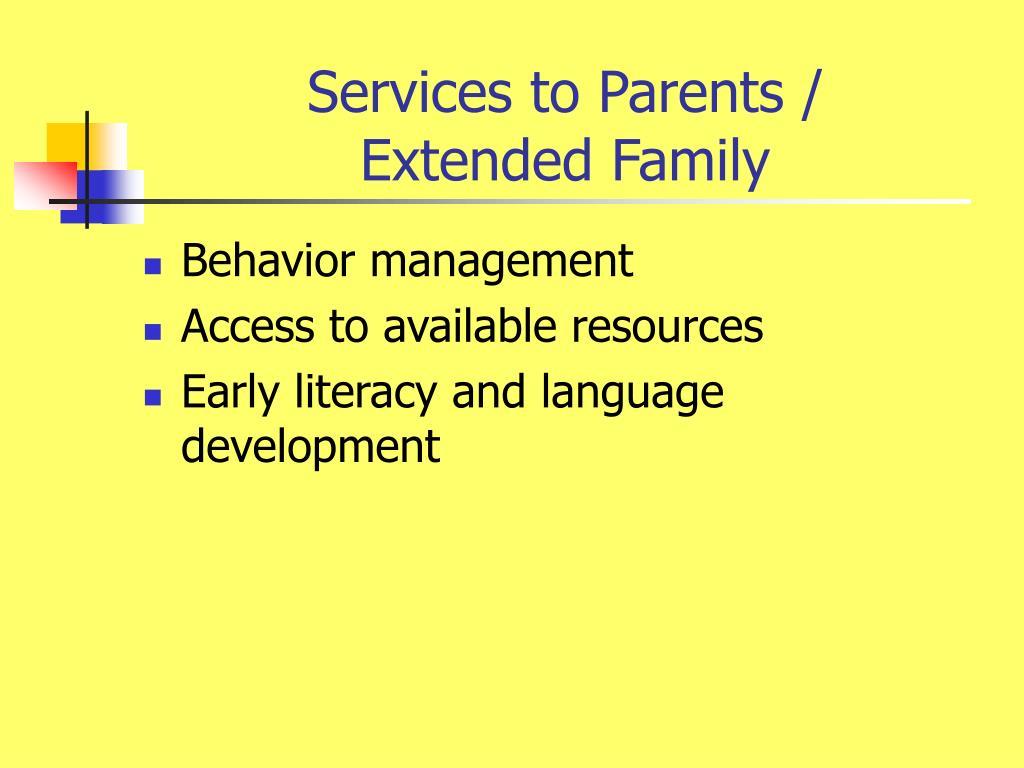 Services to Parents /