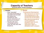 capacity of teachers visual arts music theatre and dance