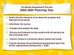 the needs assessment process 2004 2005 planning year