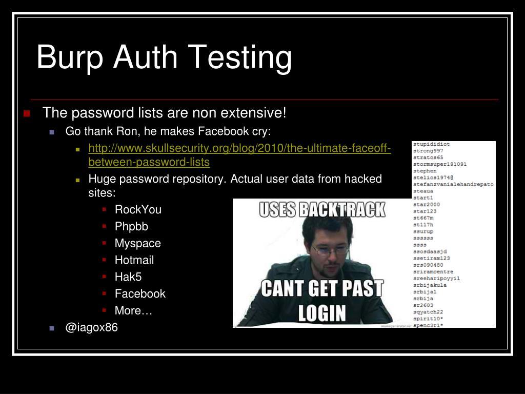 Burp Auth Testing