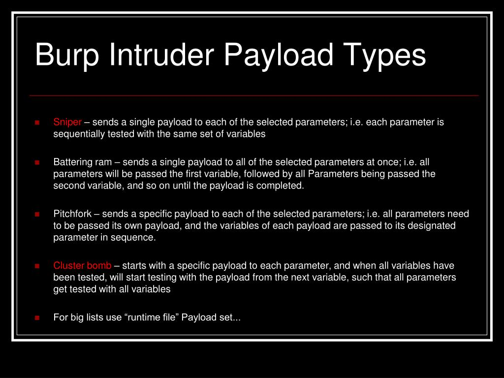 Burp Intruder Payload Types