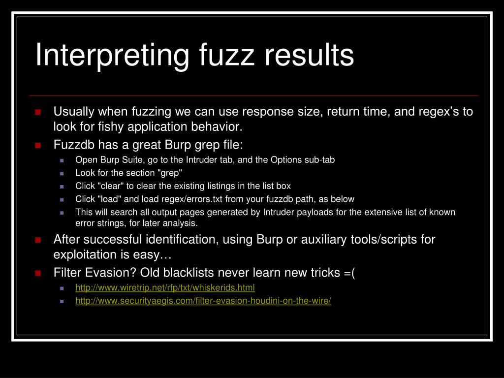 Interpreting fuzz results