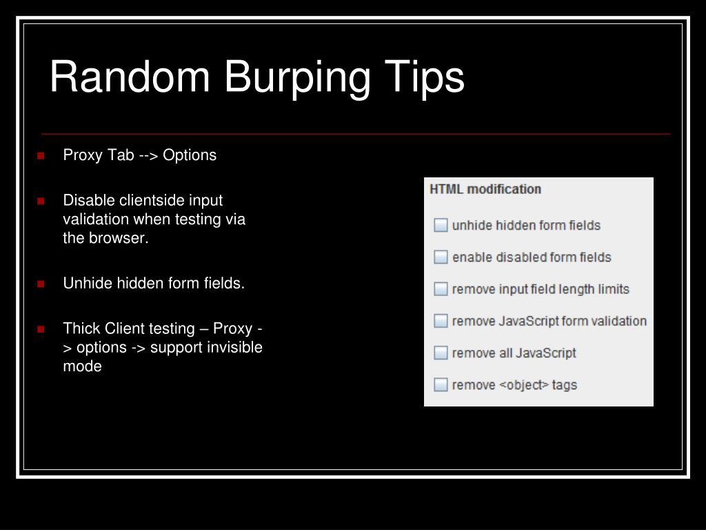Random Burping Tips