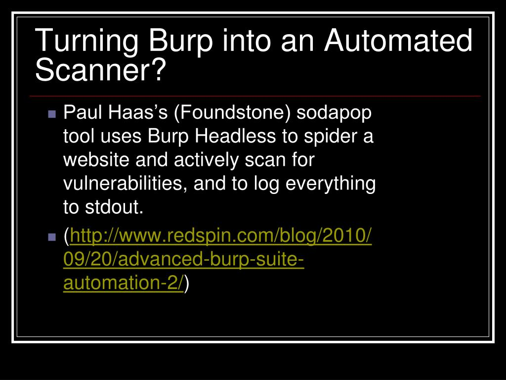 Turning Burp into an Automated Scanner?