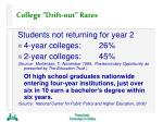 college drift out rates