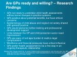 are gps ready and willing research findings