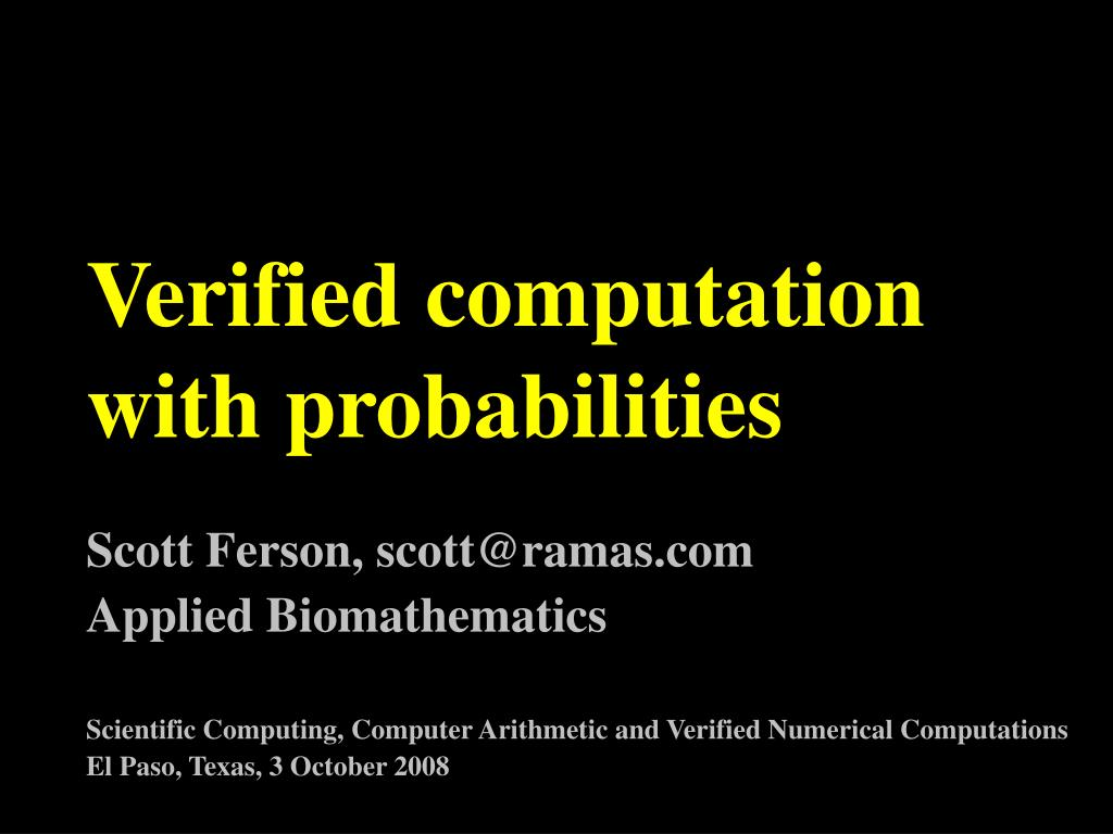 verified computation with probabilities