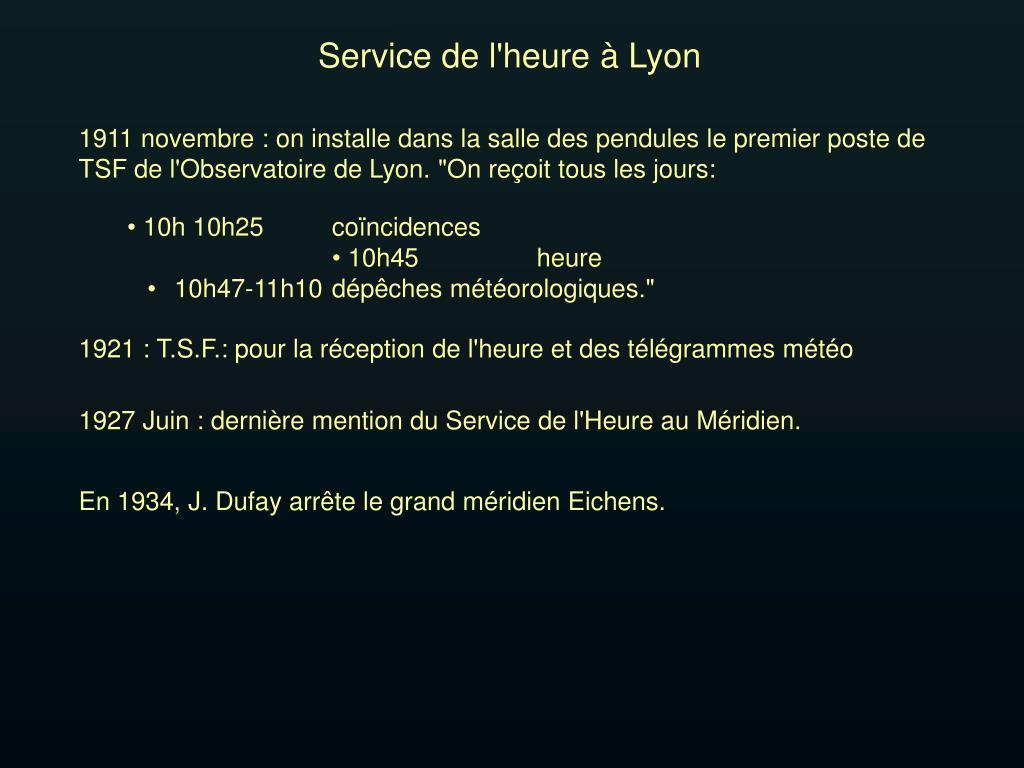 Service de l'heure à Lyon