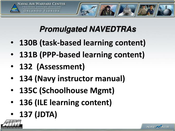 Promulgated NAVEDTRAs