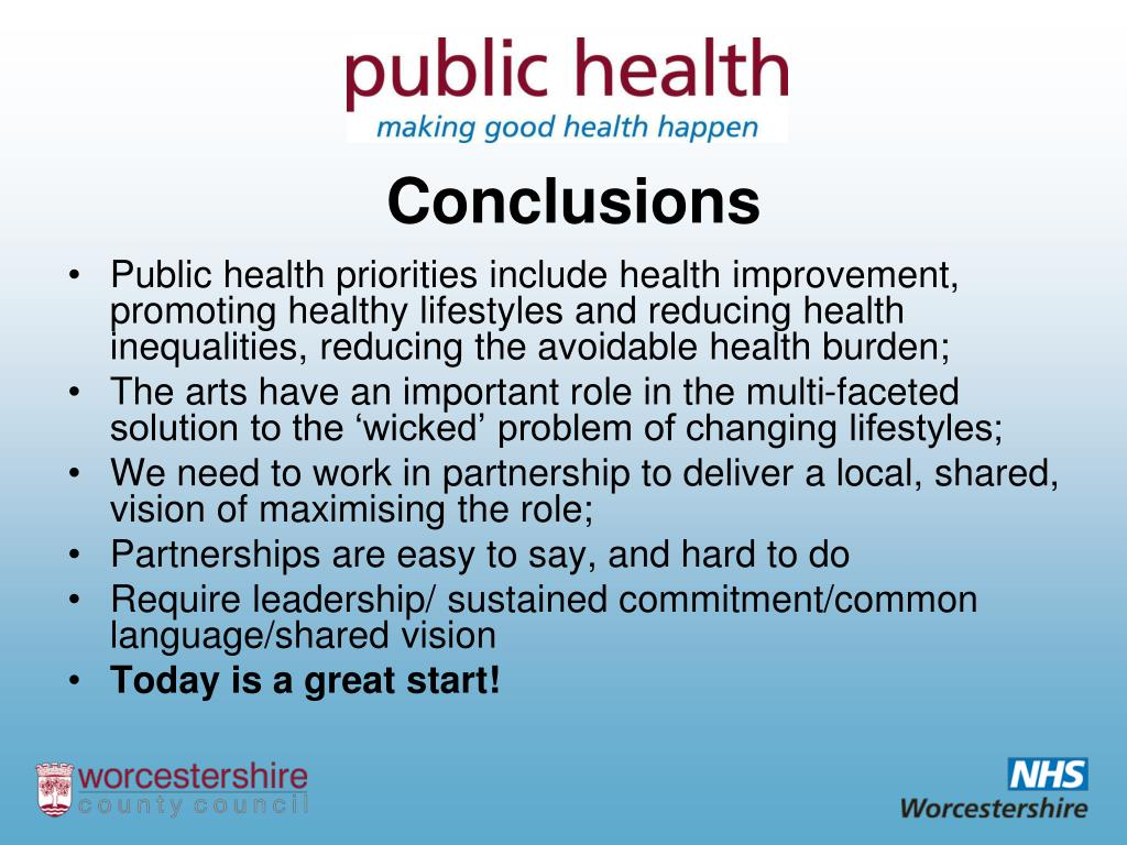 Public health priorities include health improvement, promoting healthy lifestyles and reducing health inequalities, reducing the avoidable health burden;