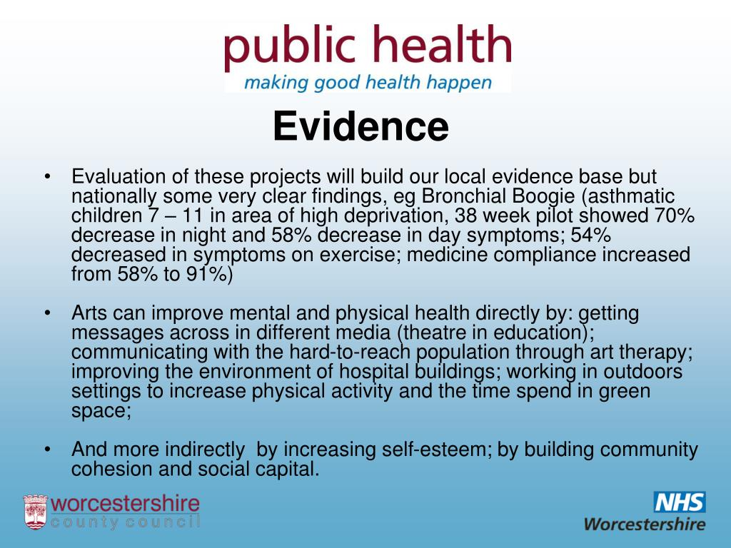 Evaluation of these projects will build our local evidence base but  nationally some very clear findings, eg Bronchial Boogie (asthmatic children 7 – 11 in area of high deprivation, 38 week pilot showed 70% decrease in night and 58% decrease in day symptoms; 54% decreased in symptoms on exercise; medicine compliance increased from 58% to 91%)