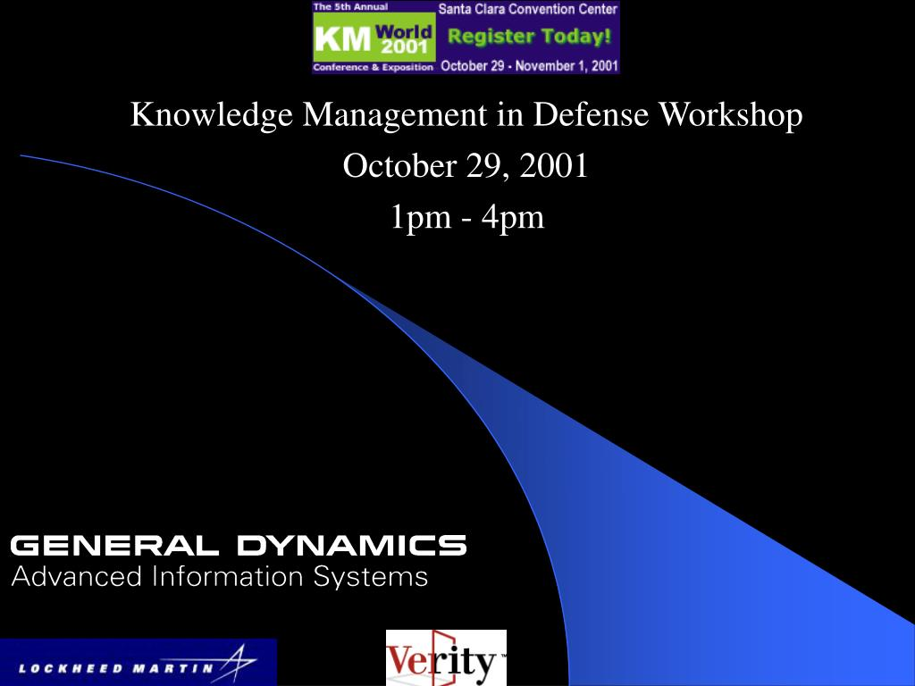knowledge management in defense workshop october 29 2001 1pm 4pm