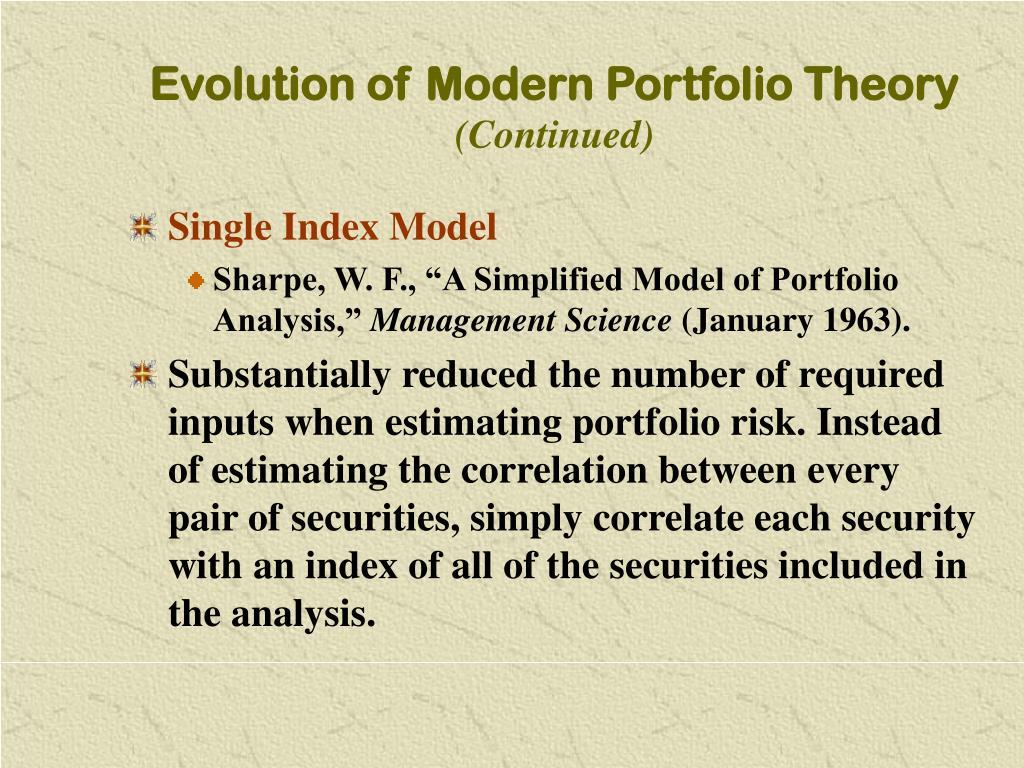 Evolution of Modern Portfolio Theory