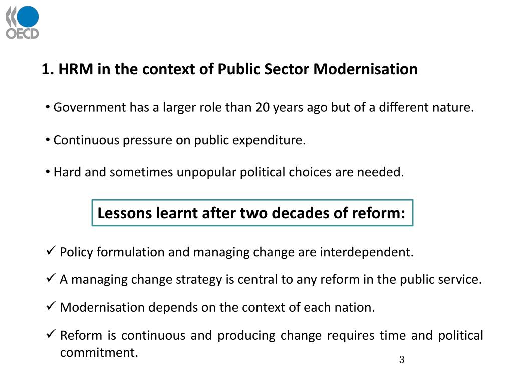 1. HRM in the context of Public Sector Modernisation