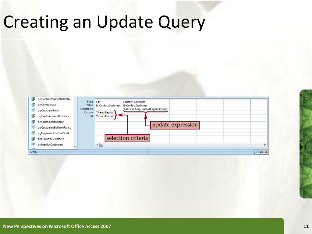 Creating an Update Query