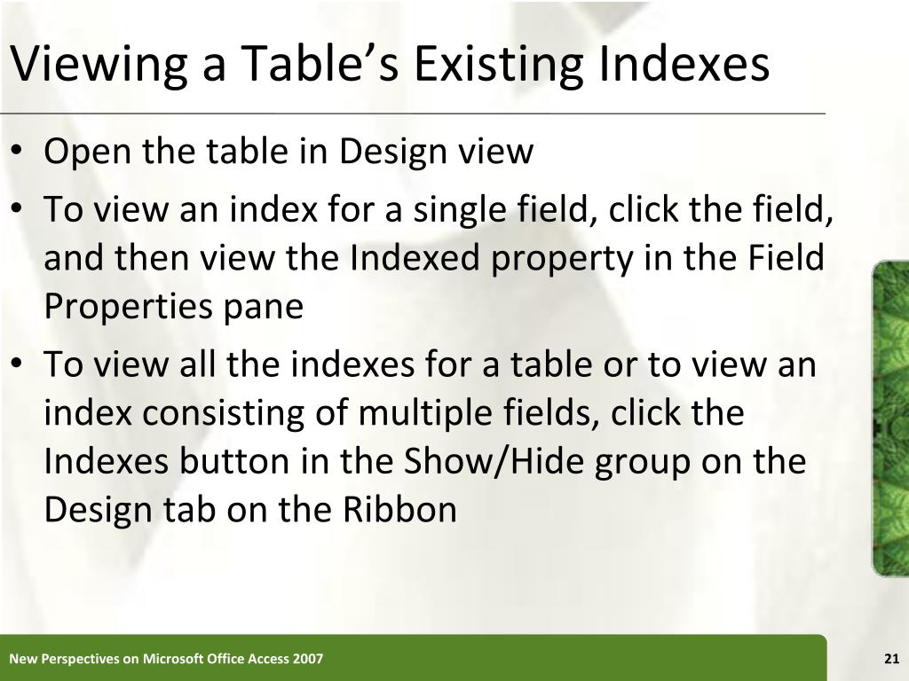 Viewing a Table's Existing Indexes