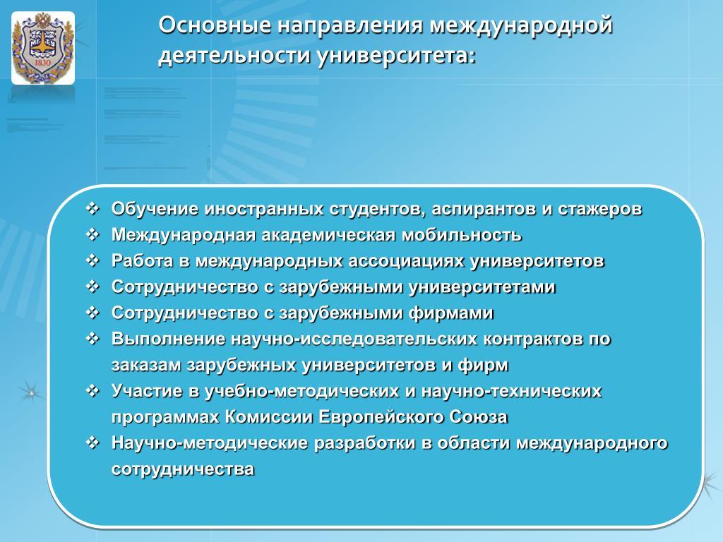 Основные направления международной деятельности университета: