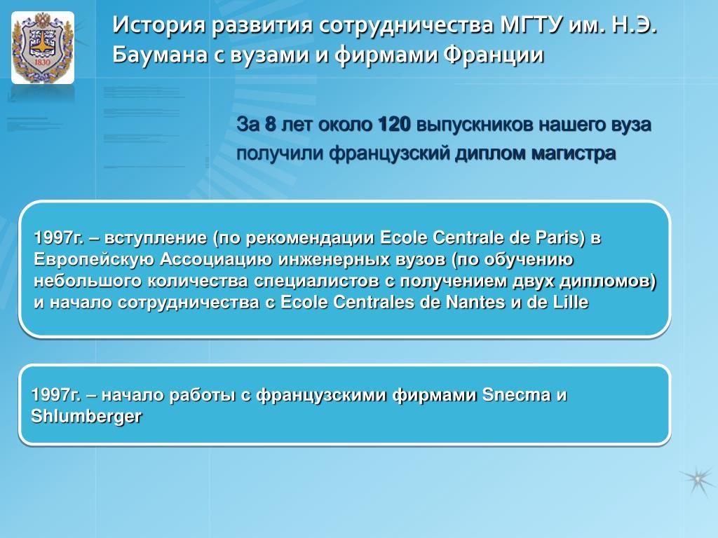 История развития сотрудничества МГТУ им. Н.Э. Баумана с вузами и фирмами Франции