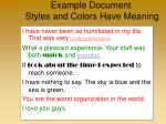 example document styles and colors have meaning
