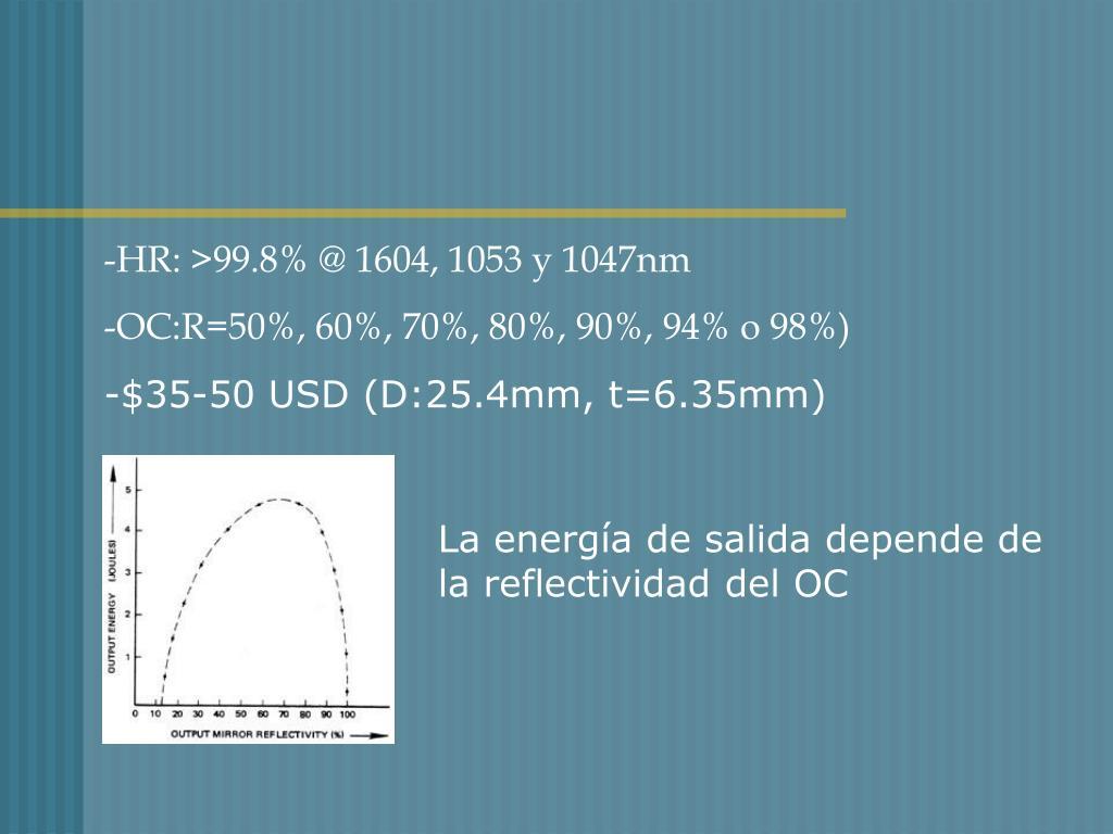 -HR: >99.8% @ 1604, 1053 y 1047nm