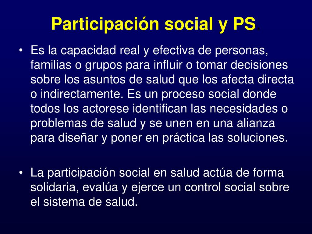 Participación social y PS