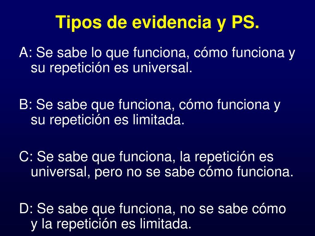 Tipos de evidencia y PS.