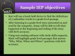 sample iep objectives