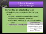 solution selection tools strategies