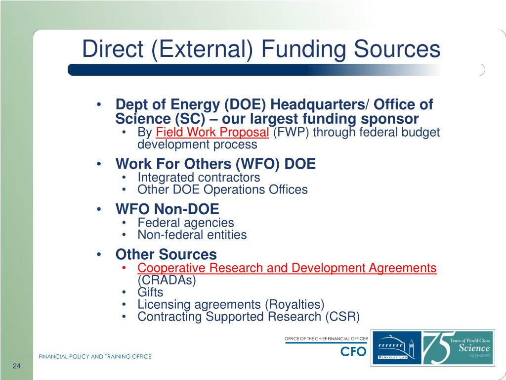 Direct (External) Funding Sources