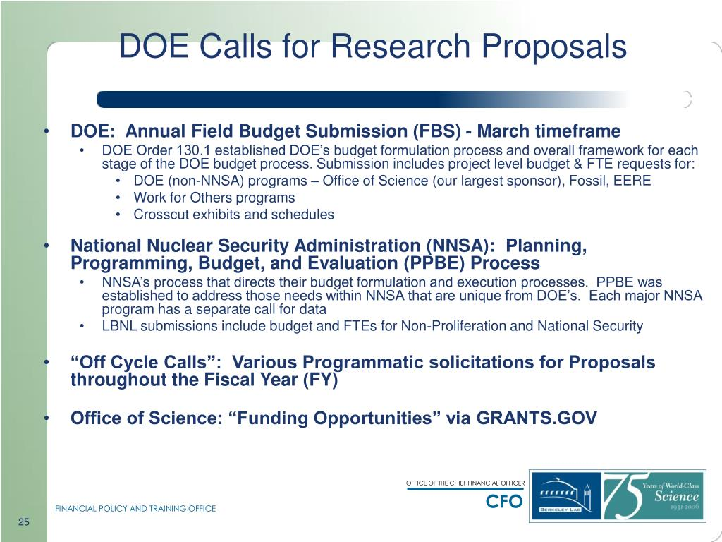 DOE Calls for Research Proposals